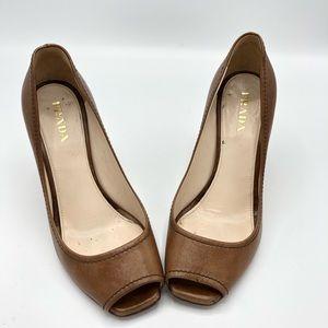 PRADA Peep-Toe Leather Wedge Sandal Size 37